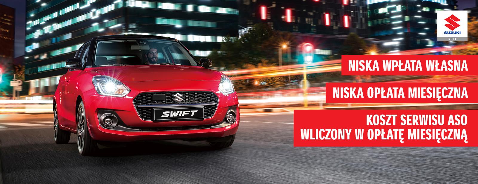 Na zdjęciu widniejse czerwone Suzuki Swift z opisaną ofertą