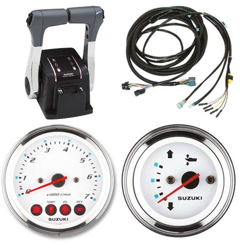Manetka podwójna keyless, wiązki elektryczne, zegary analogowe - zestaw do instalacji dwusilnikowej